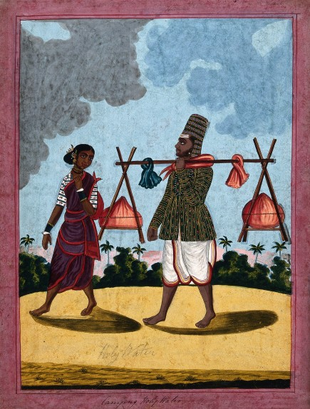 V0045282 A man carrying Holy water with his wife. Gouache drawing.