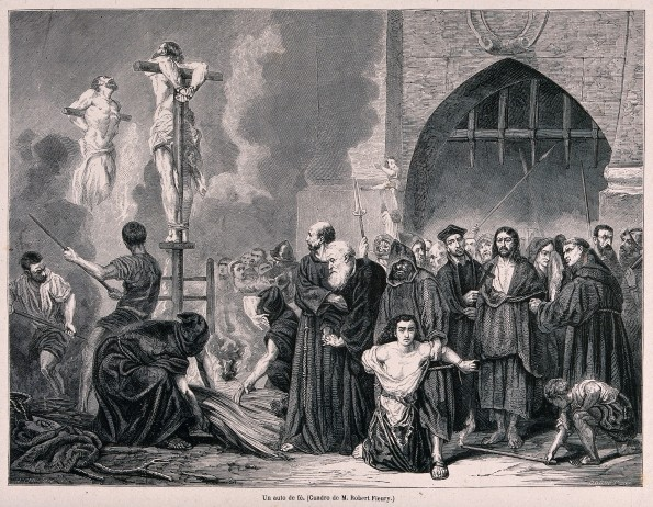 V0041892 An auto-da-fé of the Spanish Inquisition and the execution o