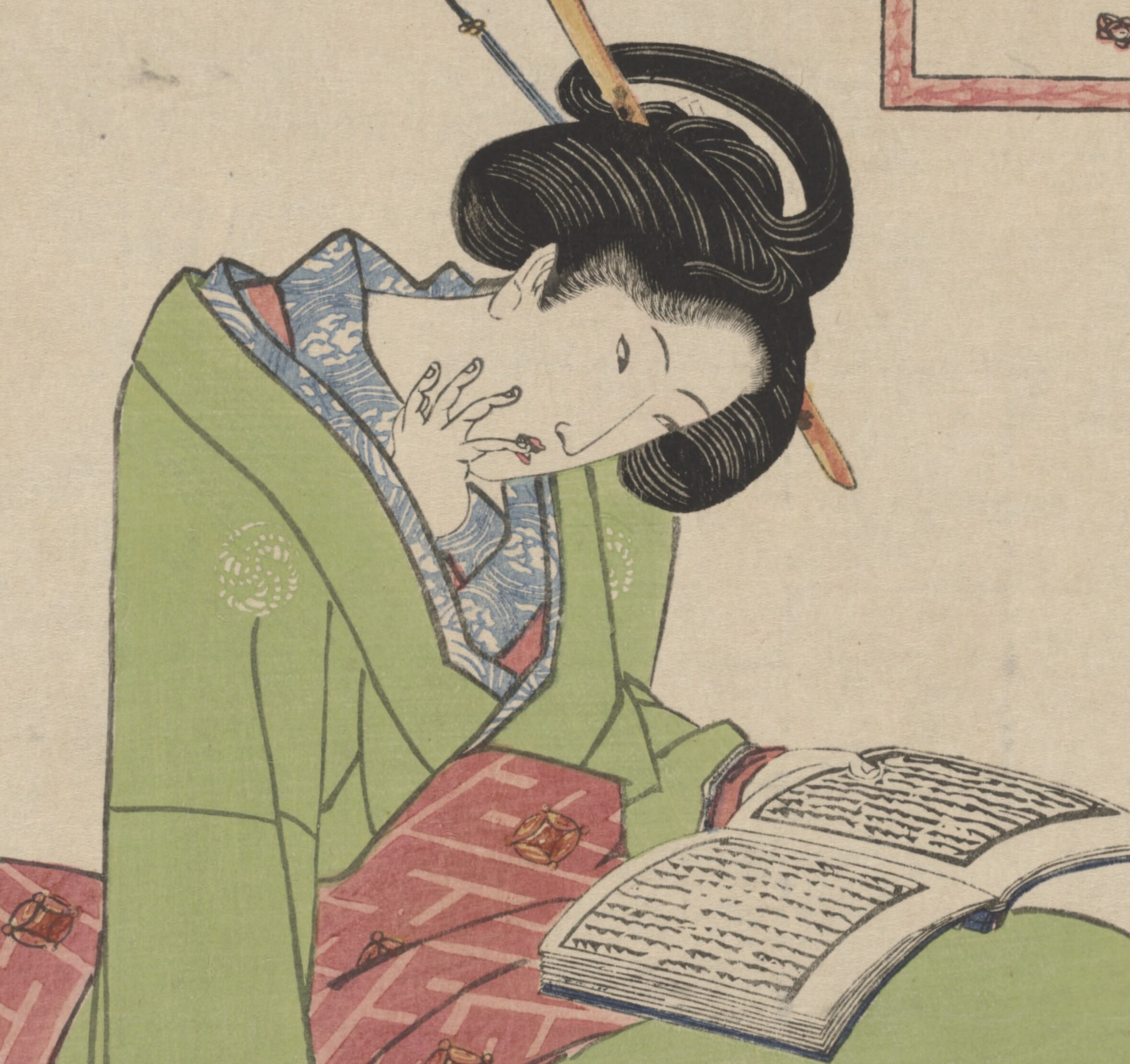 A_beauty_reading_by_Utagawa_Kunisada_(I)